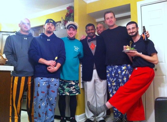 "The guys had no problem being ridiculous at our Thanksgiving Eve ""FancyPants and Tapas"" Party."