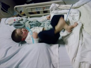 B in the hospital, March of 2010.